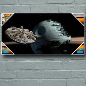 Star Wars - Poster en verre Millenium Falcon vs Death Star 60 x 30 cm